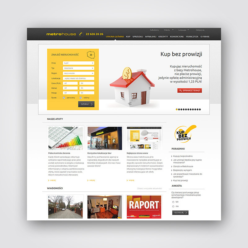 Projekt portali mieszkaniowego - Metrohouse