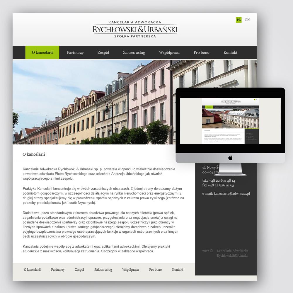 Strona www projekt - Kancelaria Adwokacka Rychłowski & Urbański Warszawa