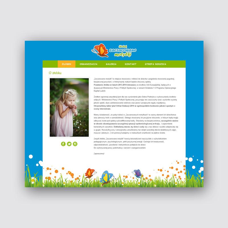 Zaczarowane motylki - projekt strony internetowej i strefy rodzica